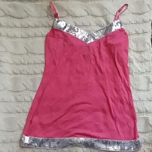 Pink tank top with silver Seguin trim